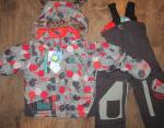 Зимний комплект Gagou Tagou цвет серый с красным! В комплекте куртка, полукомбинезон, краги + ШАПКА (оранжевая). Размеры 12 мес (80+6), 18 мес (86+6), 24 мес (92), 2T (92+6), 3T (98+6). Цена 4000 р.